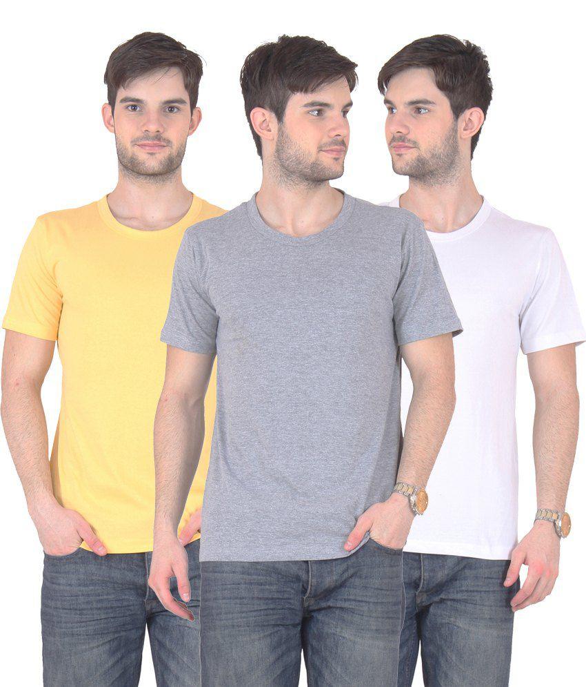 Fnme Multicolor Cotton Blend T-shirt - Pack Of 3