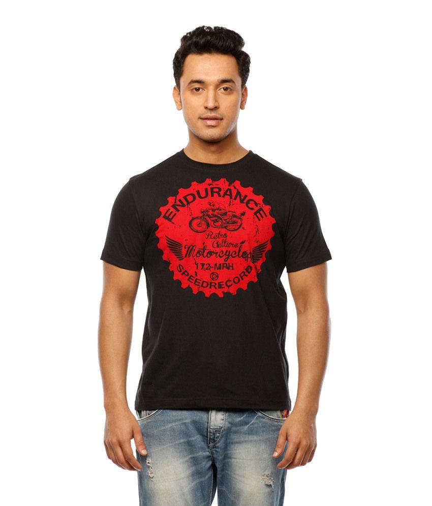 Huetrap Black Cotton Motorsport Fanatic Casual Printed T-shirt