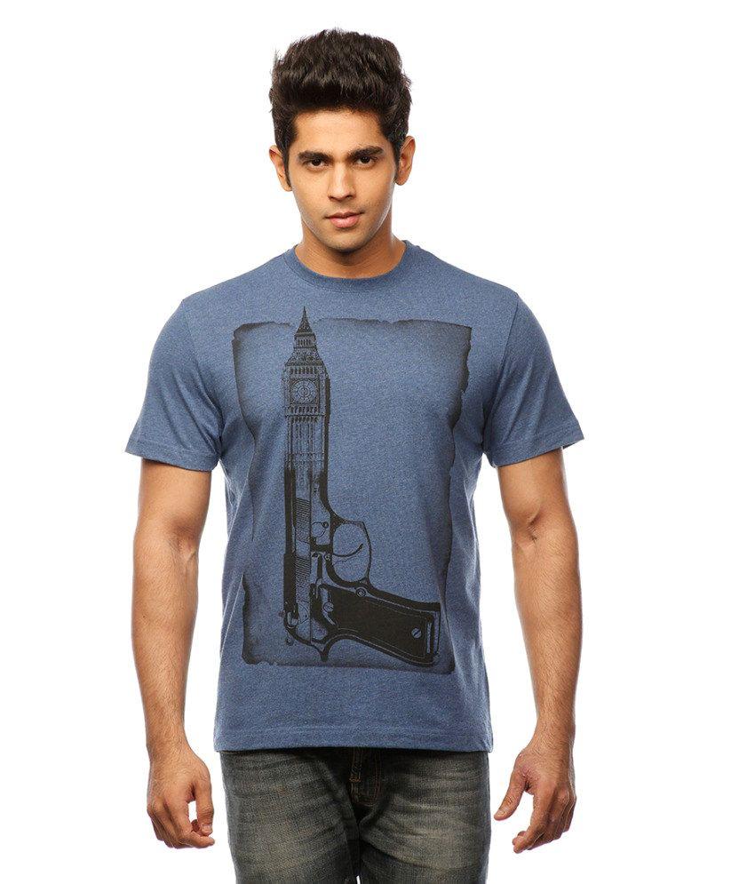 Huetrap Blue Cotton Holiday Casual Classics T-shirt