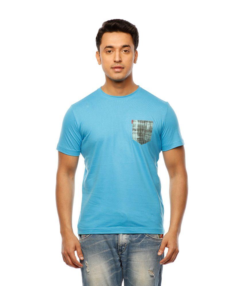 Huetrap Blue Cotton Stylised Pocket Print Casual T-shirt