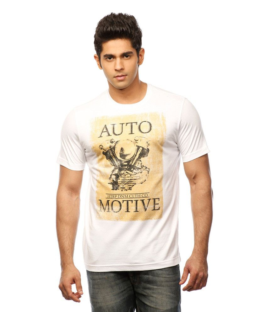 Huetrap White Cotton Automotive Style Casual Printed T-shirt