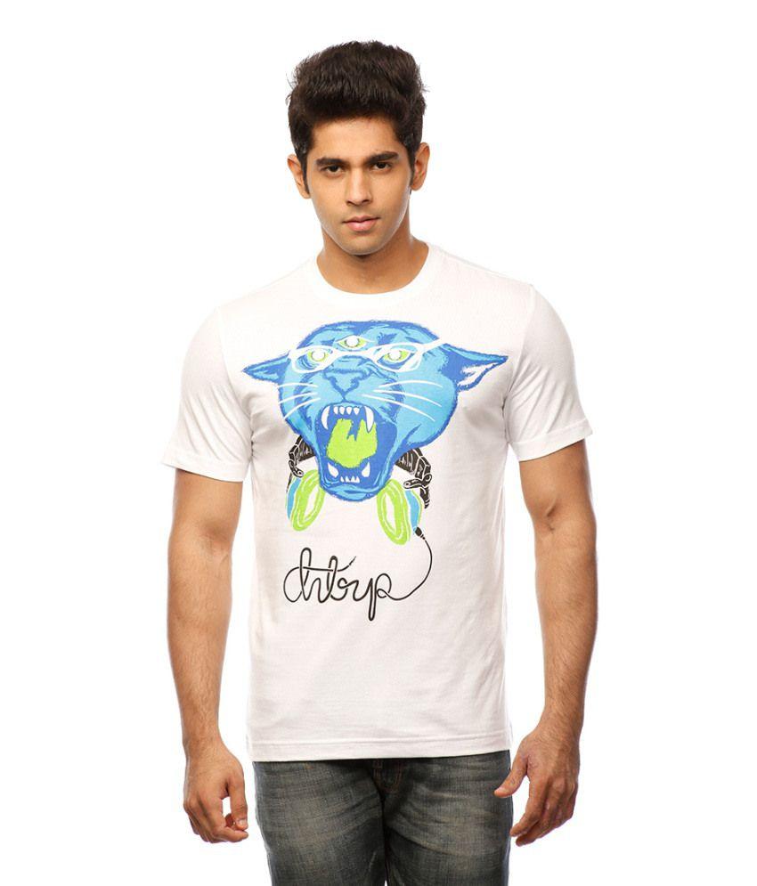 Huetrap White Cotton Panther Face Print Huetrap T-shirt