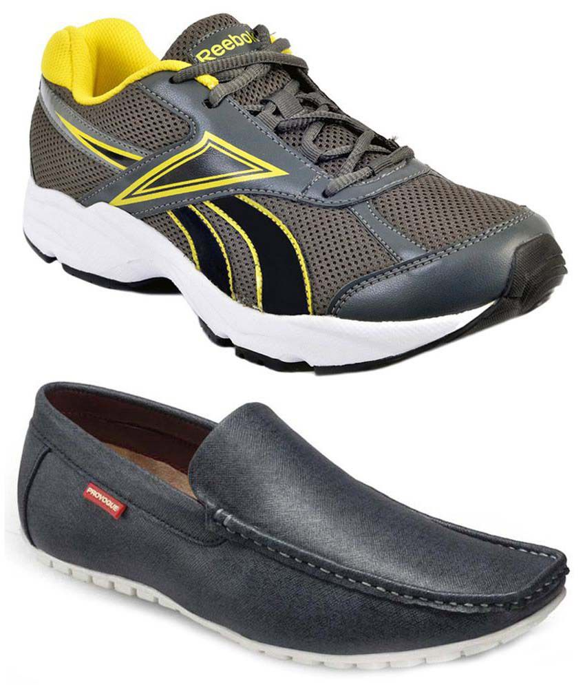 49414a4aca83 Reebok Combo Of Gray Sports Shoes And Loafers - Buy Reebok Combo Of Gray  Sports Shoes And Loafers Online at Best Prices in India on Snapdeal