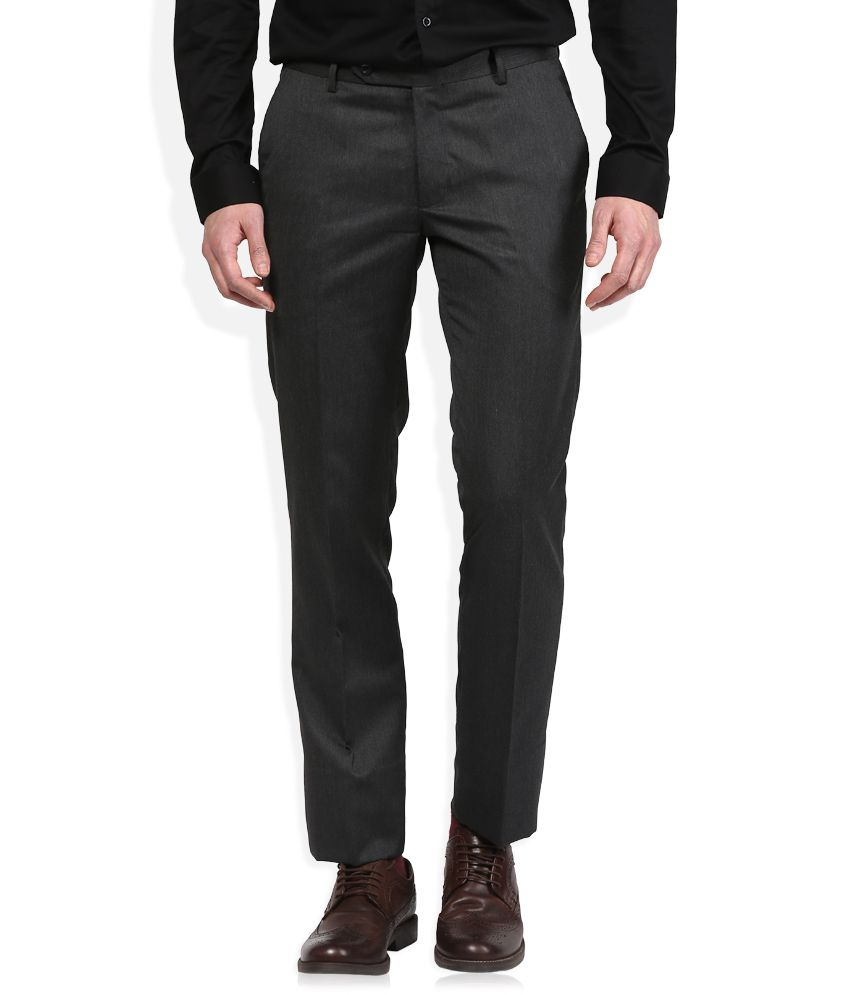 John Players Black Solid Flat Front Trousers