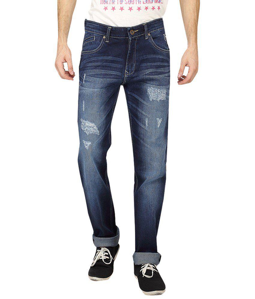 Pepe Jeans Dark Blue Light Distressed Cotton Jeans