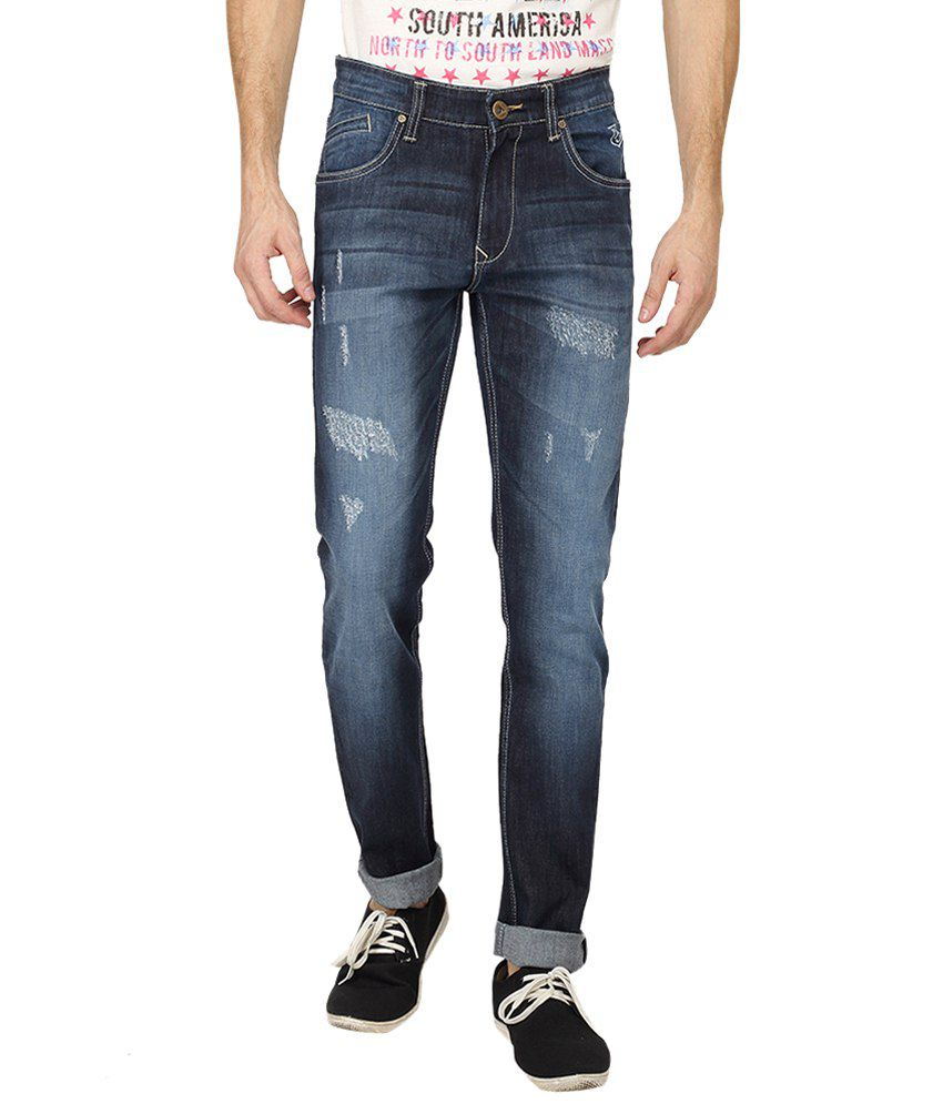 Pepe Jeans Navy Blue Light Distressed Cotton Jeans