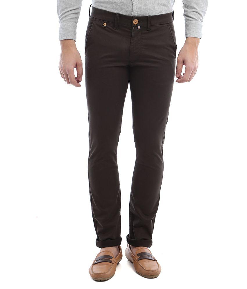 Vintage Brown Slim Fit Casual Chinos