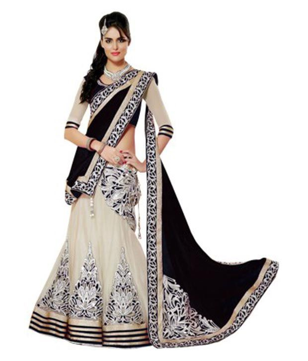267c68e2b Chamunda Enterprise Black   Beige Net Lehenga - Buy Chamunda Enterprise  Black   Beige Net Lehenga Online at Best Prices in India on Snapdeal