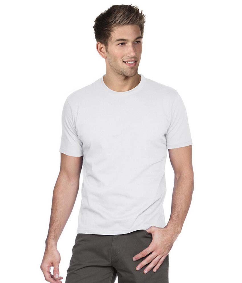 Cotton Collection White Cotton Round T-shirt