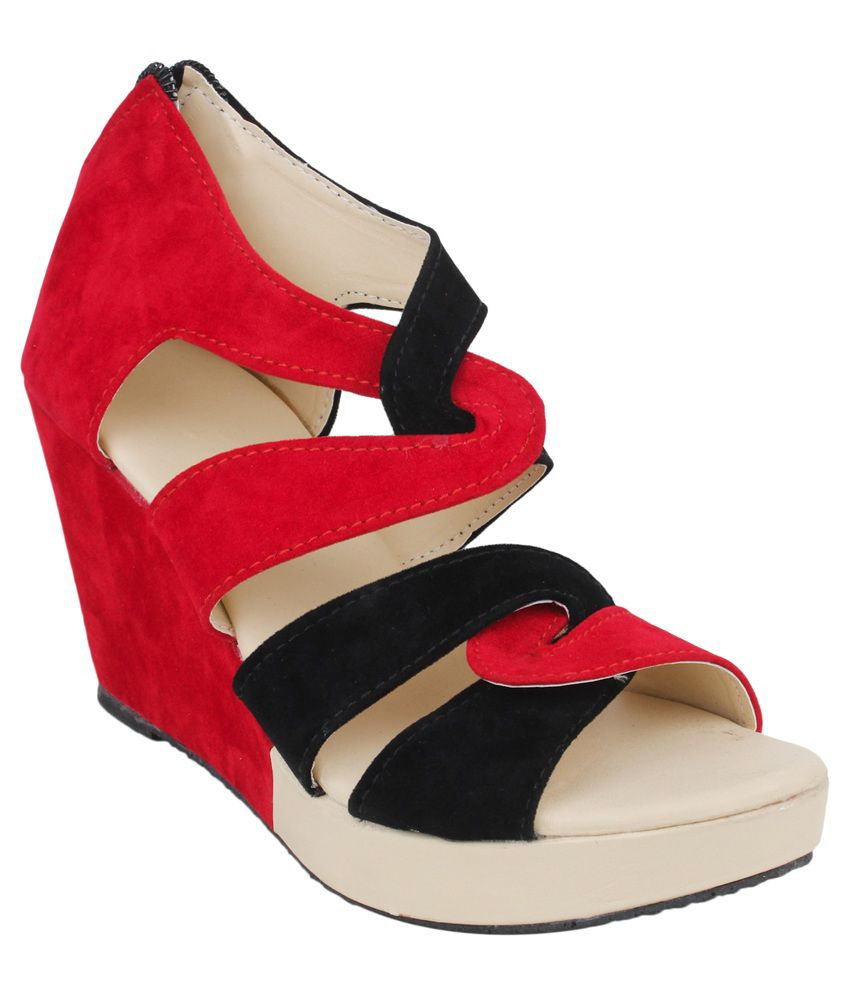 Do Bhai Red And Black Wedge Heels