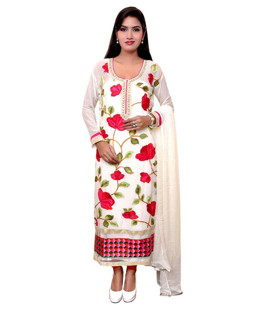 Unique Creation White Pure Georgette Semi Stitched Dress Material