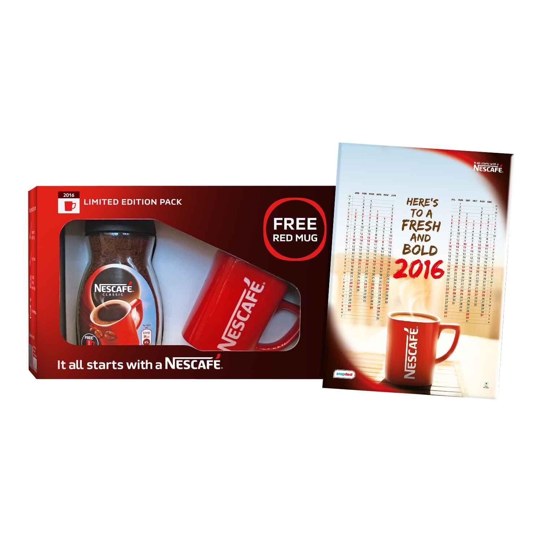 NESCAFE Classic Coffee New Year Kit 100g Jar, NESCAF Red Mug, 2016 Calendar