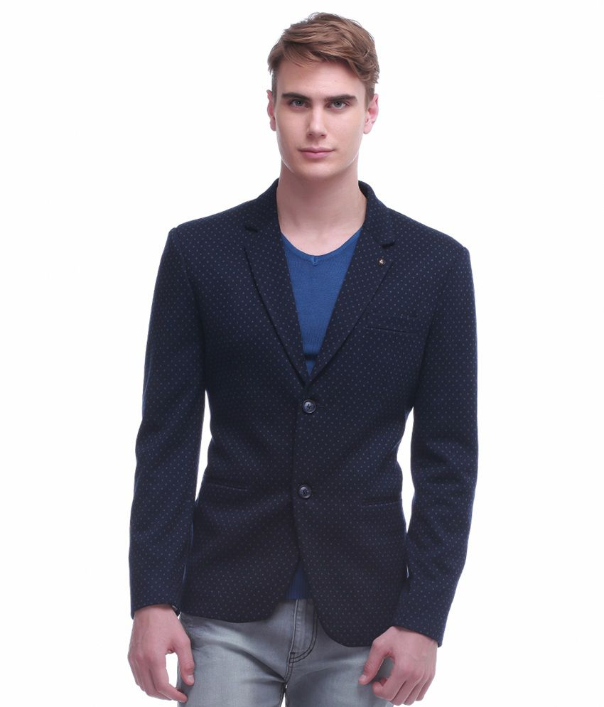 Jogur Blue Cotton Blend Blazer