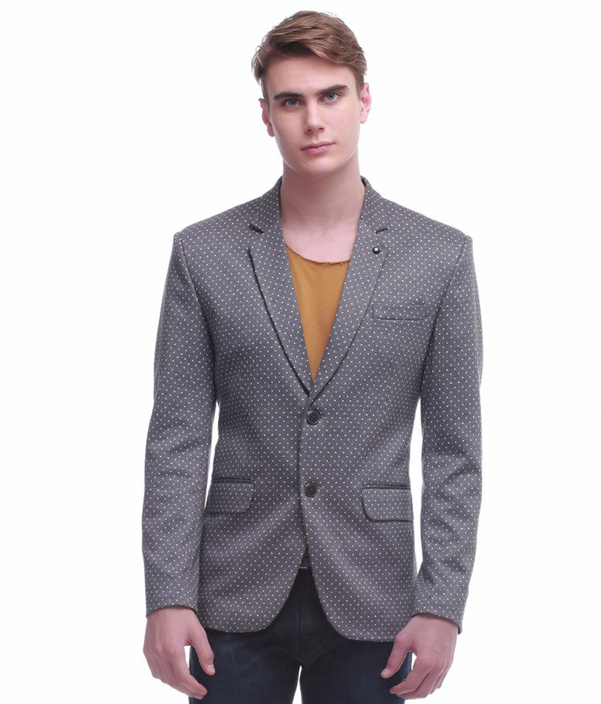 Jogur Grey Cotton Blend Blazer