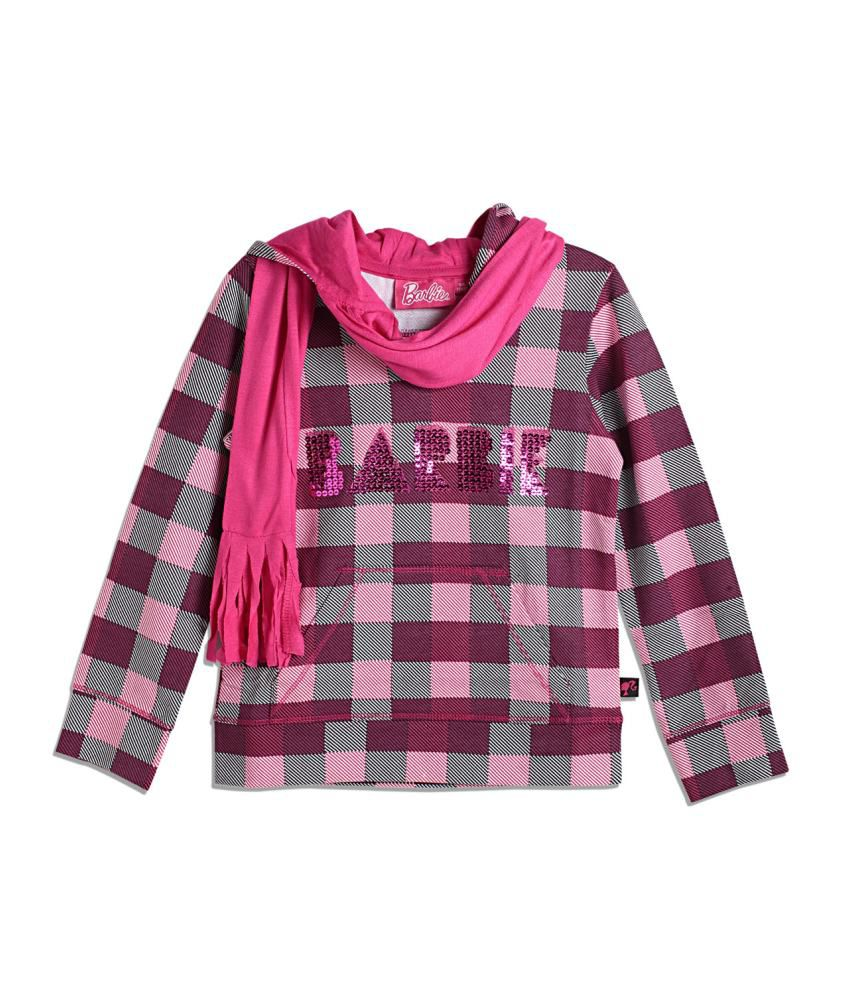 Barbie Purple and Pink Blended Cotton Sweatshirt