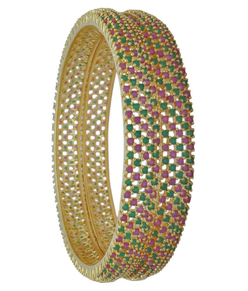 Banglzz Green Brass Bangle Set