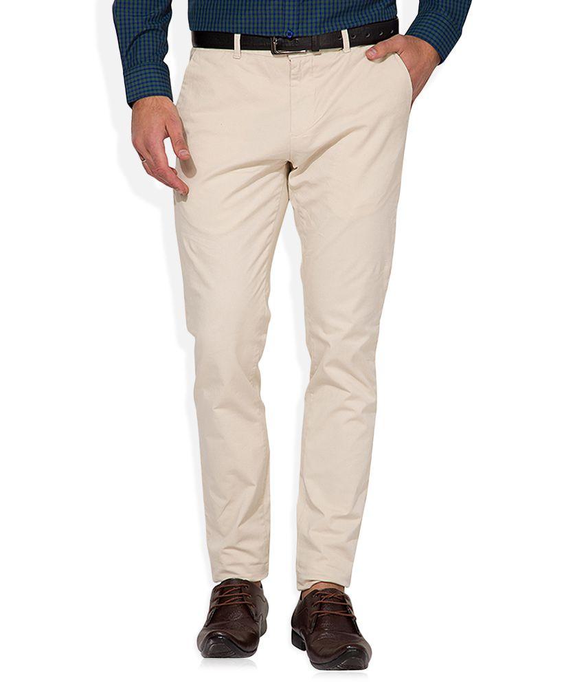 Highlander Beige Slim Fit Casual Trousers