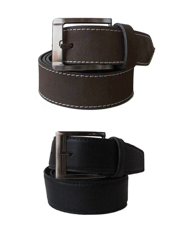 Klaska Combo Of Brown And Black Leather Belt