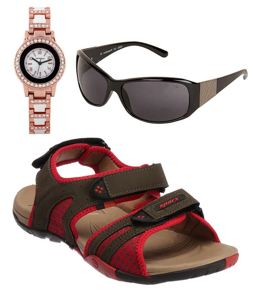 Sparx Combo Of Red Floater Sandals With Reebok Women