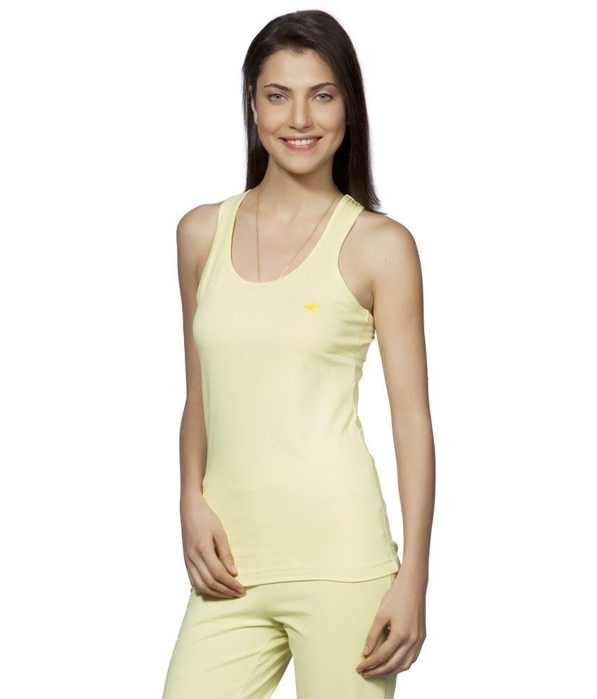Douspeakgreen Yellow Uttarkashi Organic Yoga Tank Top