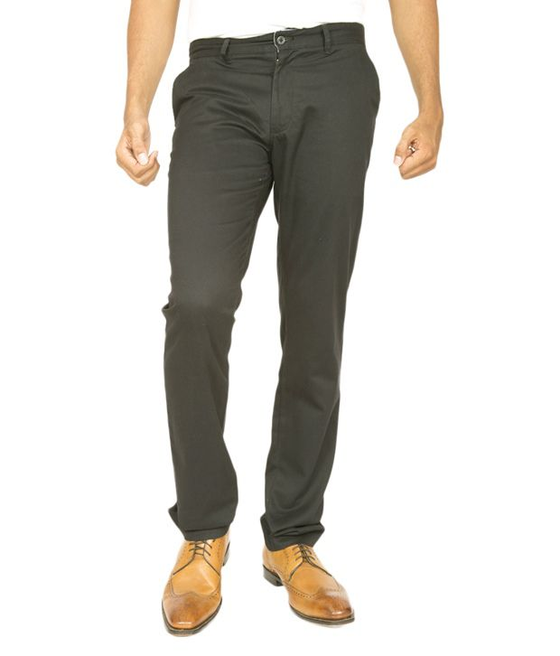 Masterly Weft Green Cotton Blend Slim Fit Jeans