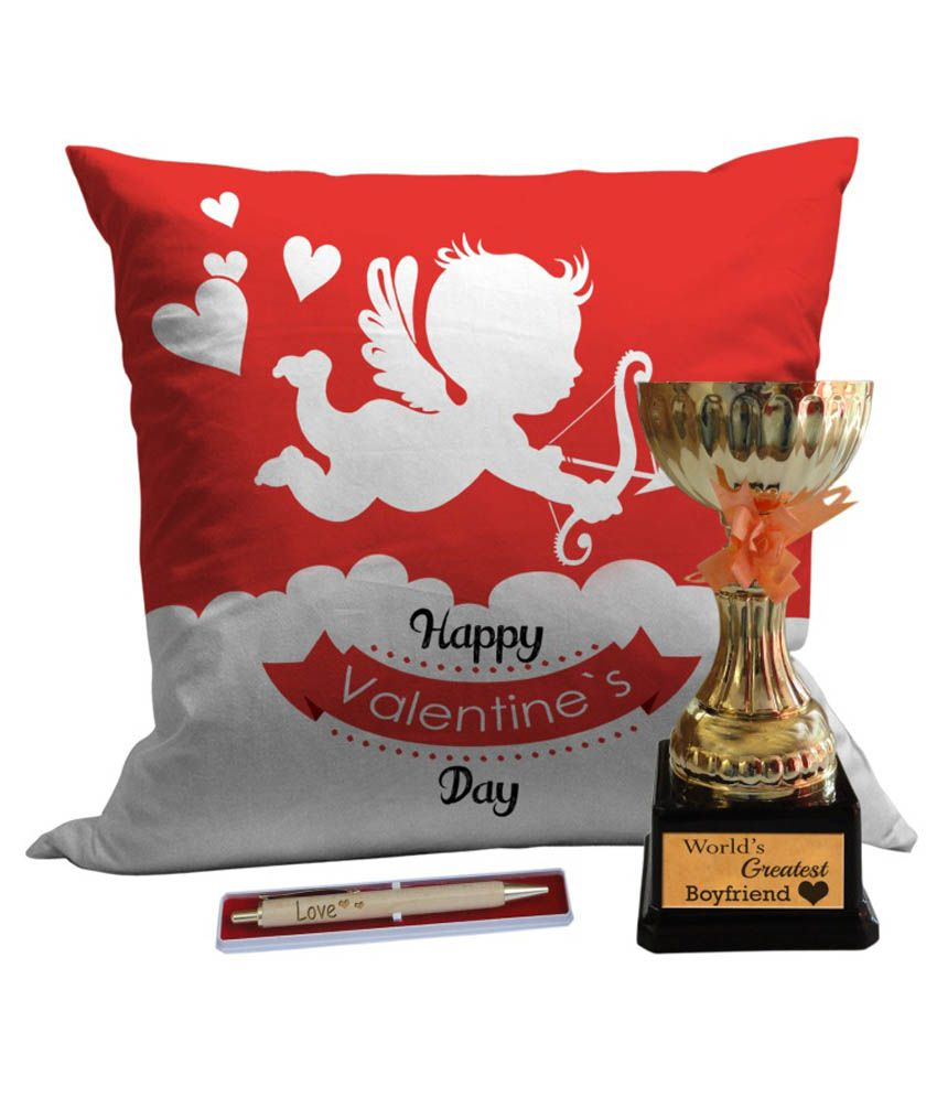 Tiedribbons Combo Of Multicolour Cushion Cover, Trophy And Pen
