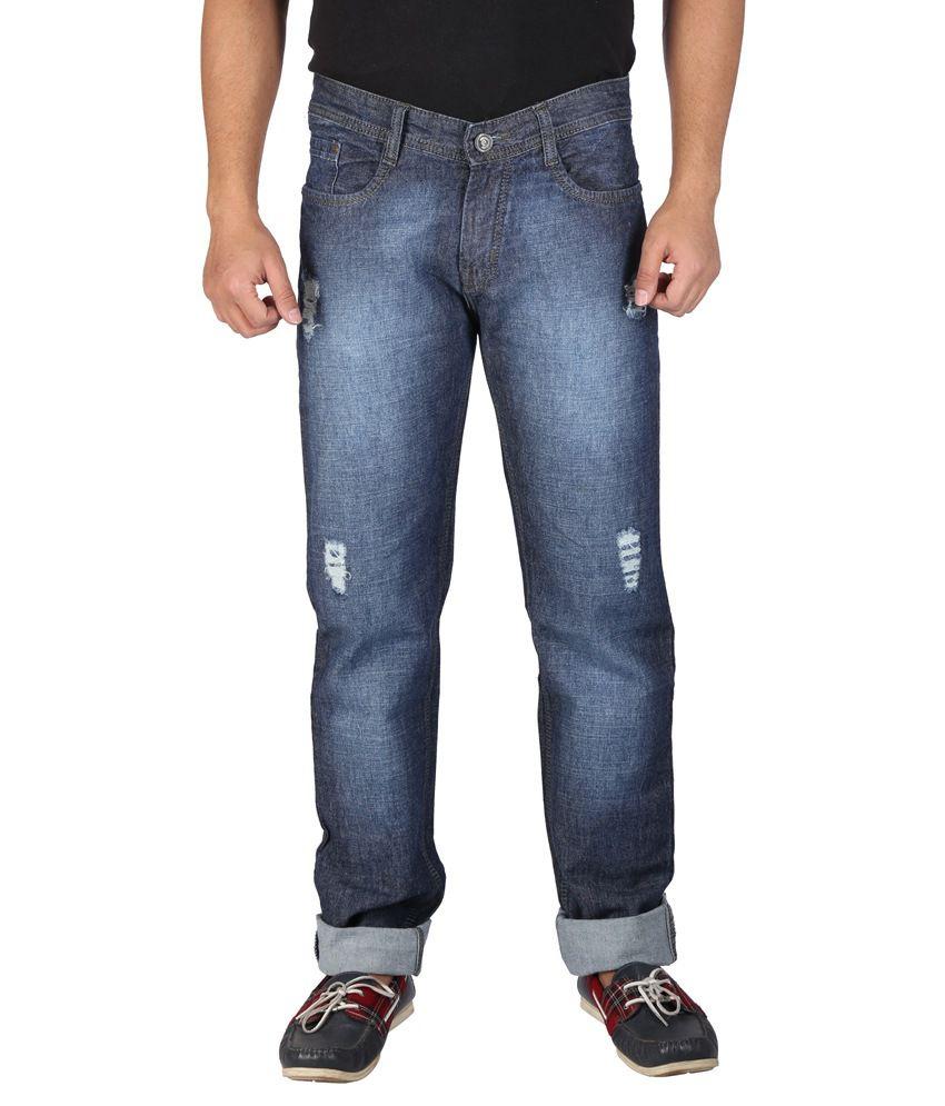 Wineglass Blue Cotton Denims Non-Stretch Jeans