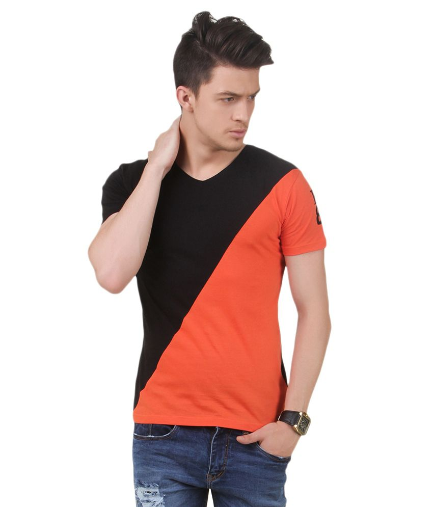 Frost Black And Orange Cotton Blended T-shirt