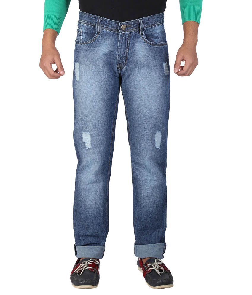 Wineglass Blue Cotton Denims Non-Stretch Jeans