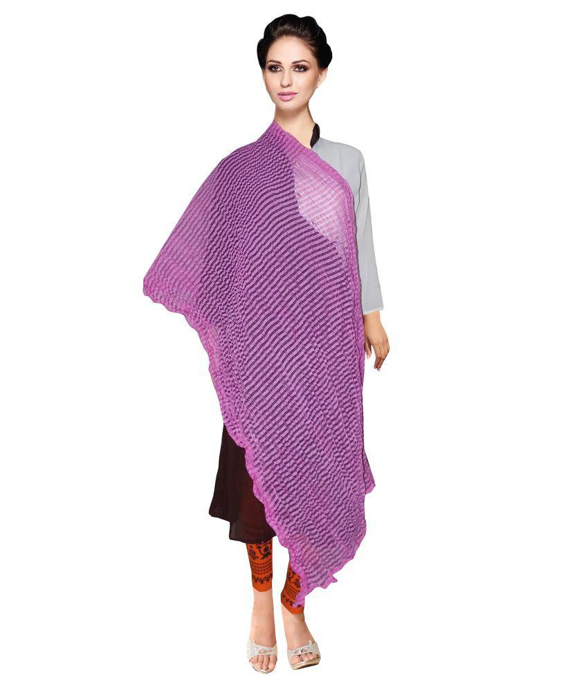 Lovely Look Purple Polyester Dupattas