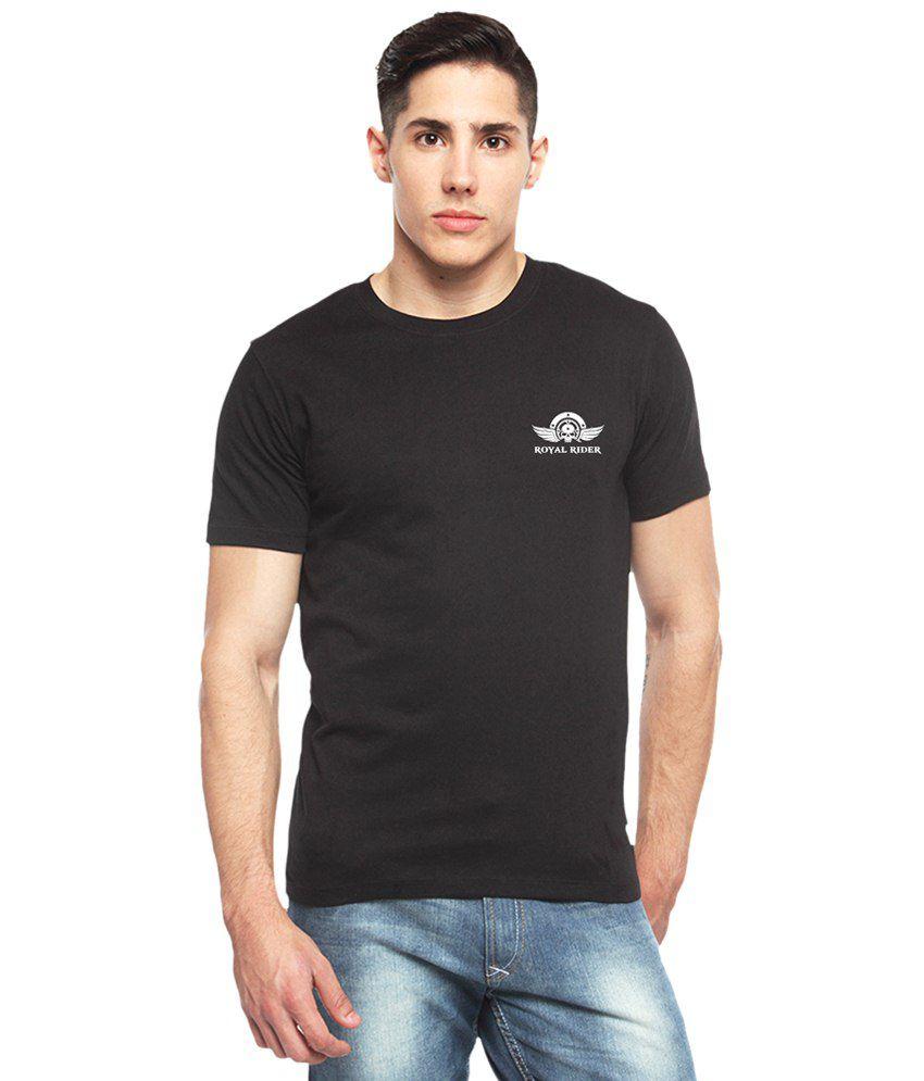 Adro Black Royal Rider Printed Cotton T Shirt