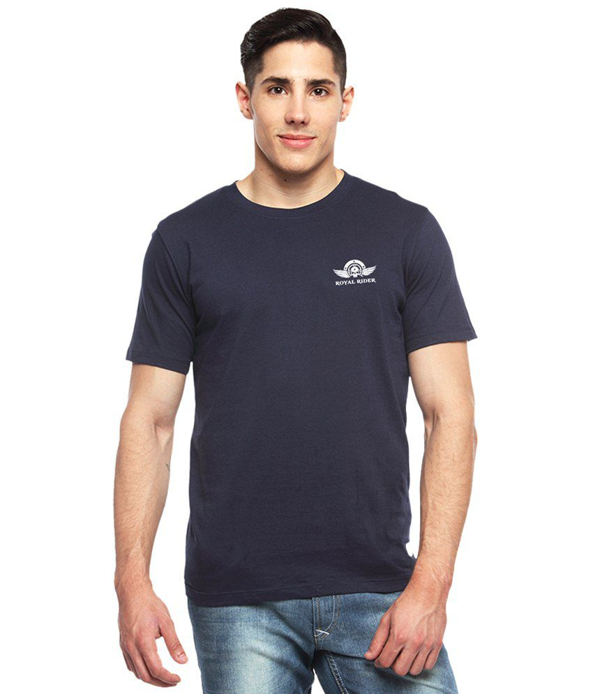 Adro Navy Blue Royal Rider Printed Cotton T Shirt