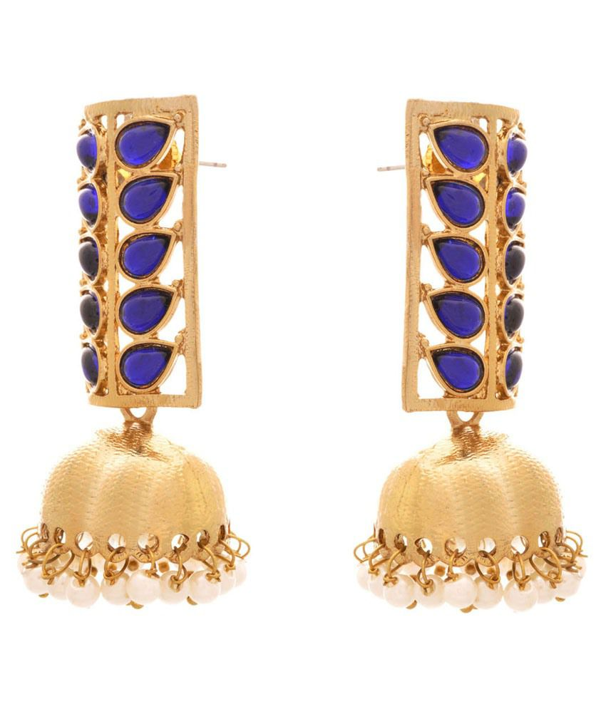 Jfl Golden Brass Hanging Earrings