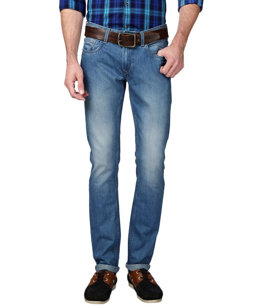 People Blue Cotton Blend Skinny Fit Jeans