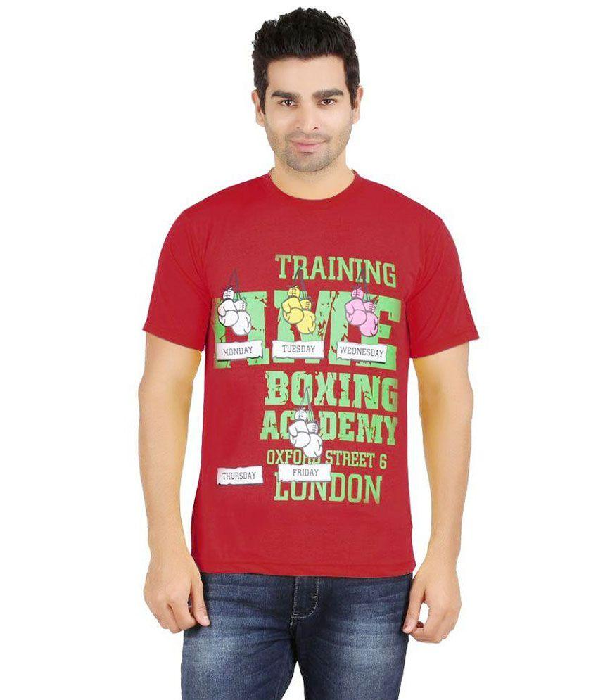 Snowfox Maroon Cotton T-Shirt