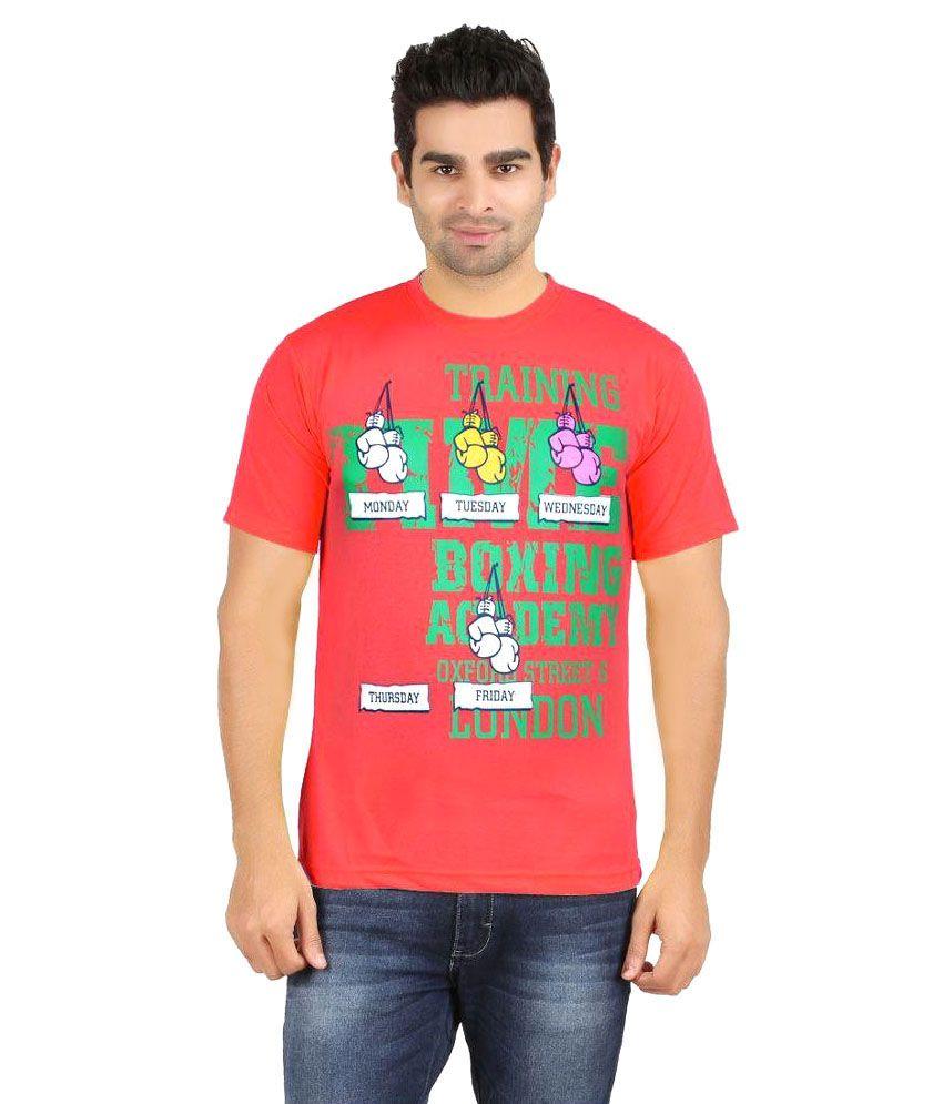 Snowfox Red Cotton T-Shirt