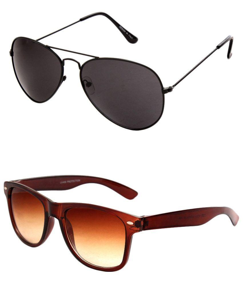 Closer Multicolour Medium Men Aviator Sunglasses Pack Of 2