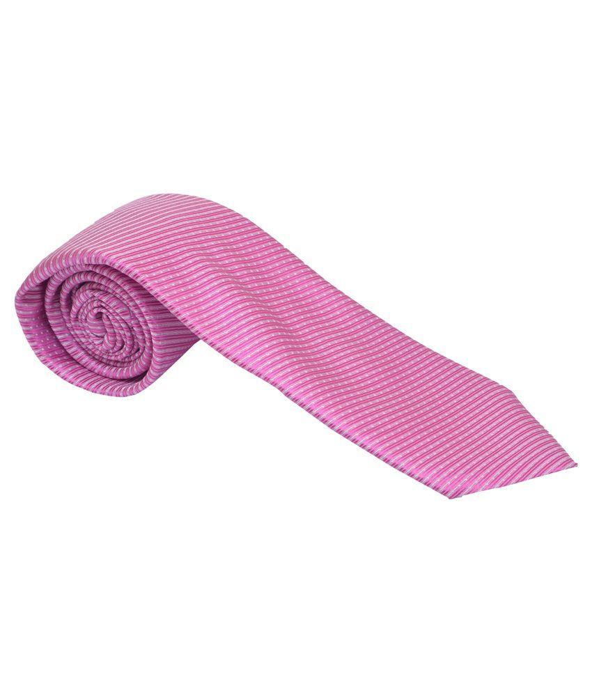 Kreative Pink Stripes Formal Broad Tie For Men