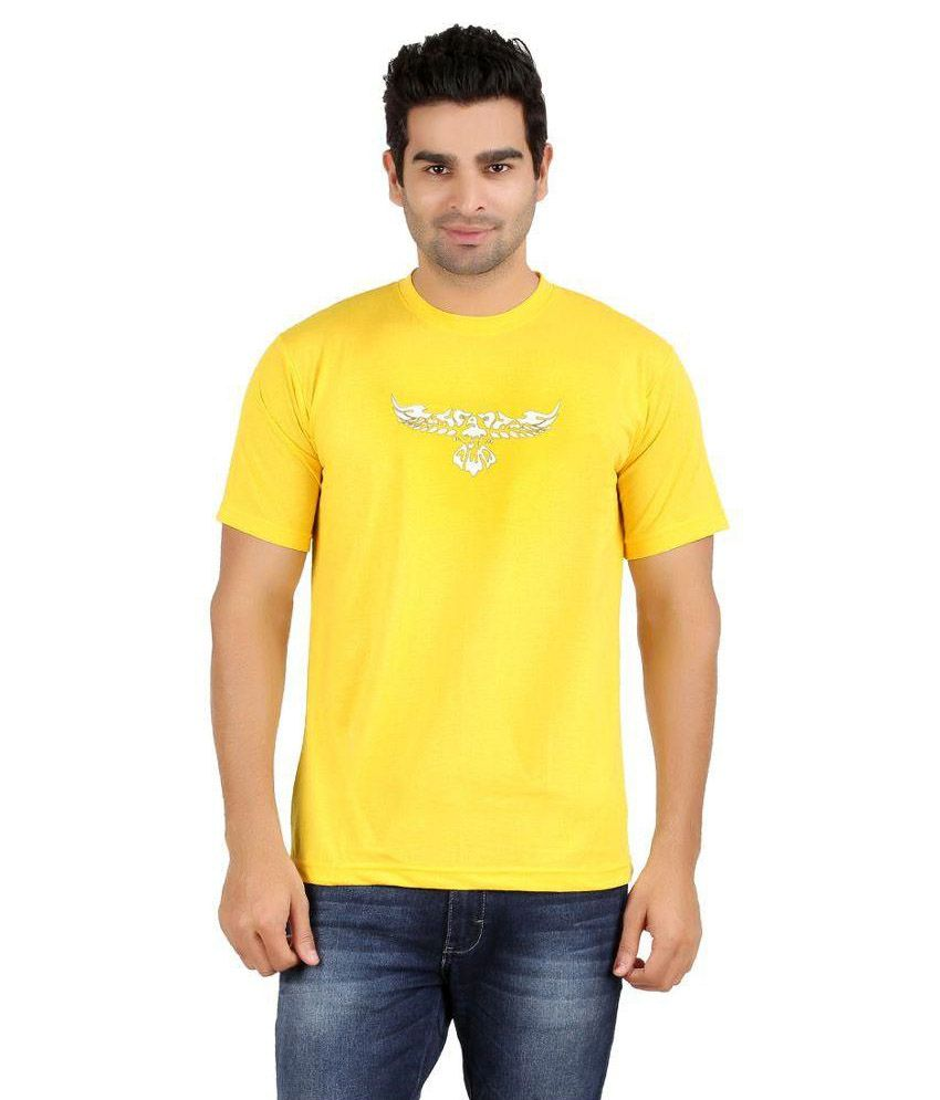 SnowFox Yellow Cotton T-Shirt
