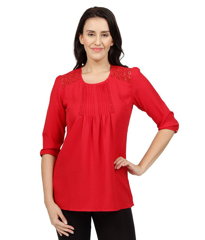 Desi Belle Red Poly Georgette Tunics
