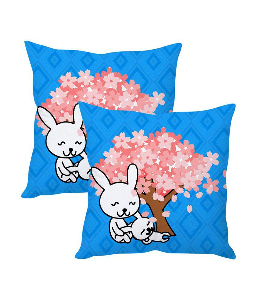 Sephora Blue Poly Cotton Indian Pop Art Cushion Covers (Pack of 2)