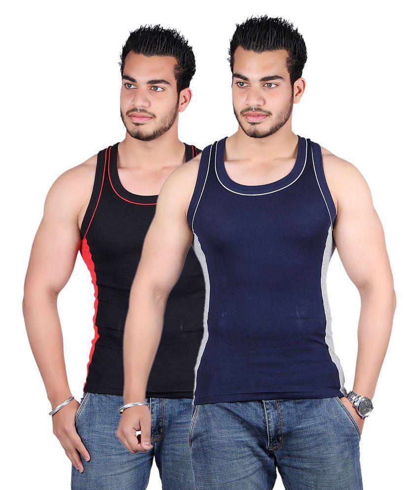 White Moon Blue & Black Cotton Sports Gym Vest - Pack Of 2
