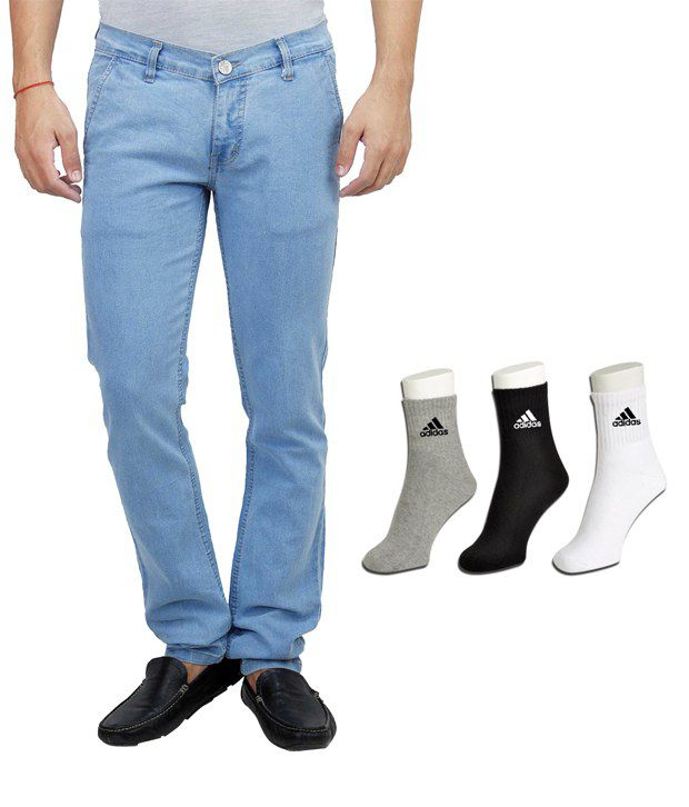 Haltung Blue Cotton Blend Regular Basics Jeans With Free Adidas Socks