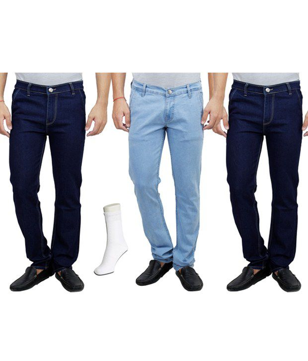 Hultung Combo Of 3 Mens Denim Jeans With Free 1 Pair Of Socks