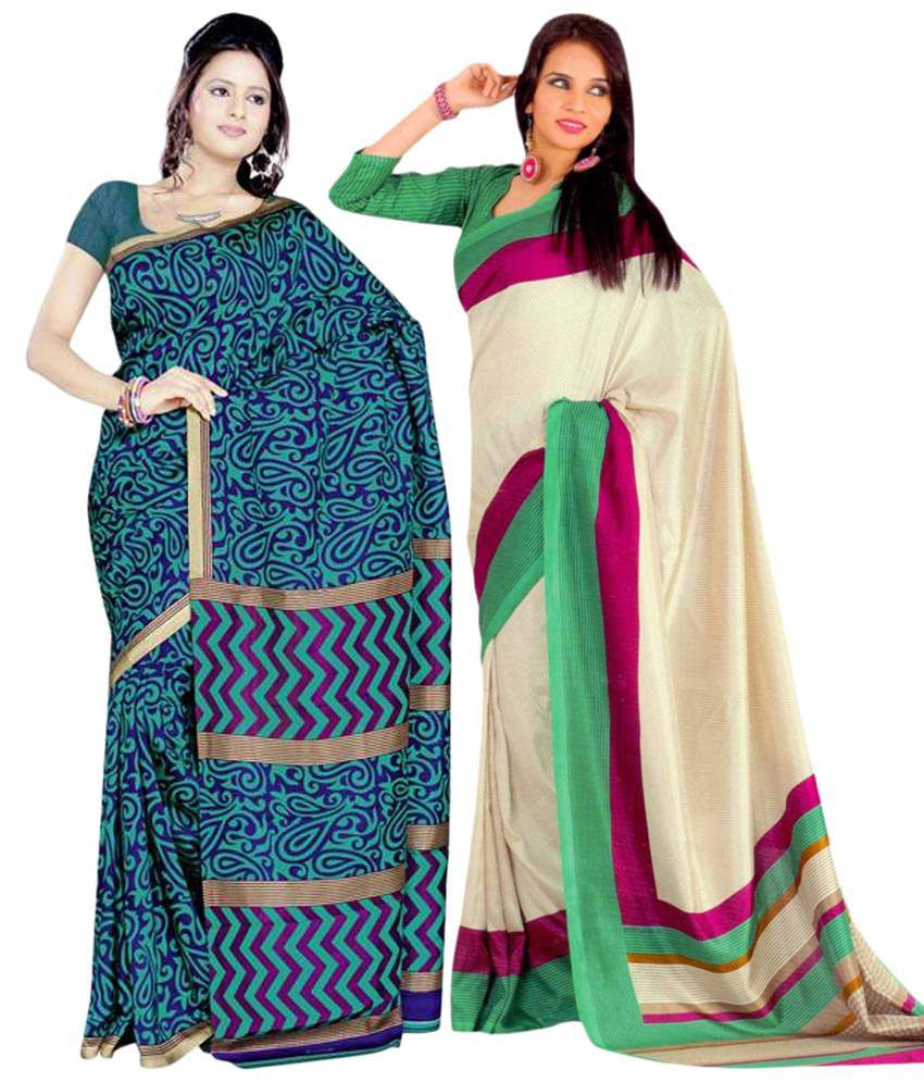 Miraan Pack of 2 Beige & Blue Bhagalpuri Art Silk Sarees with Blouse Pieces