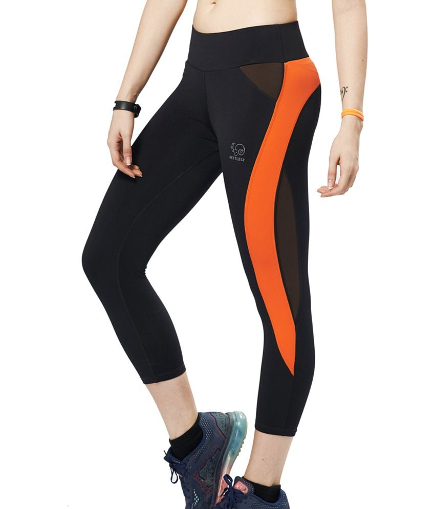 Restless Black & Orange Stretchable Sports Calf Length Leggings