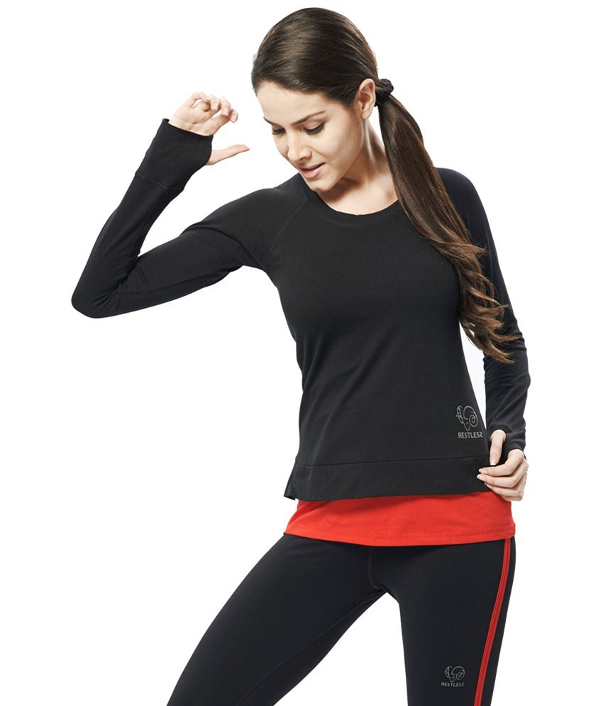 Restless Black Stretchable Sports T Shirt