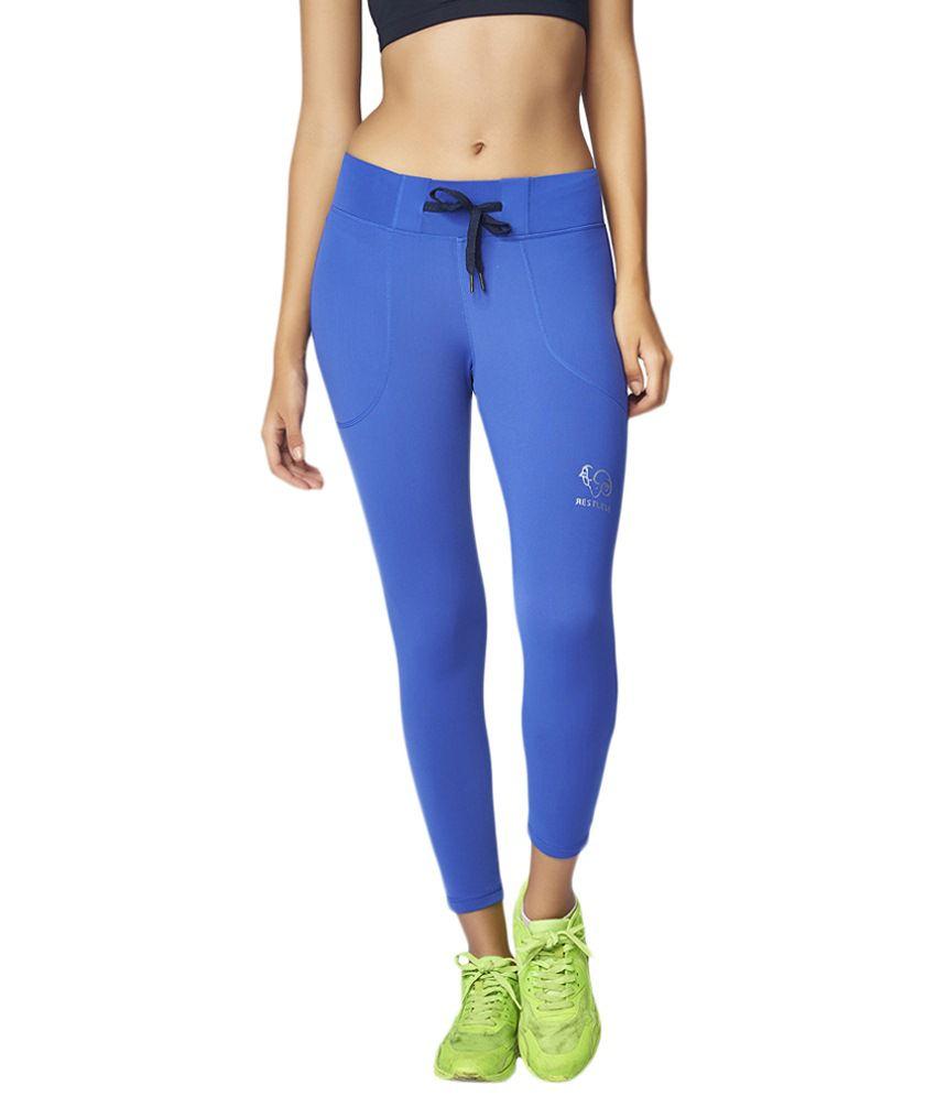 Restless Blue Stretchable Sports Calf Length Leggings