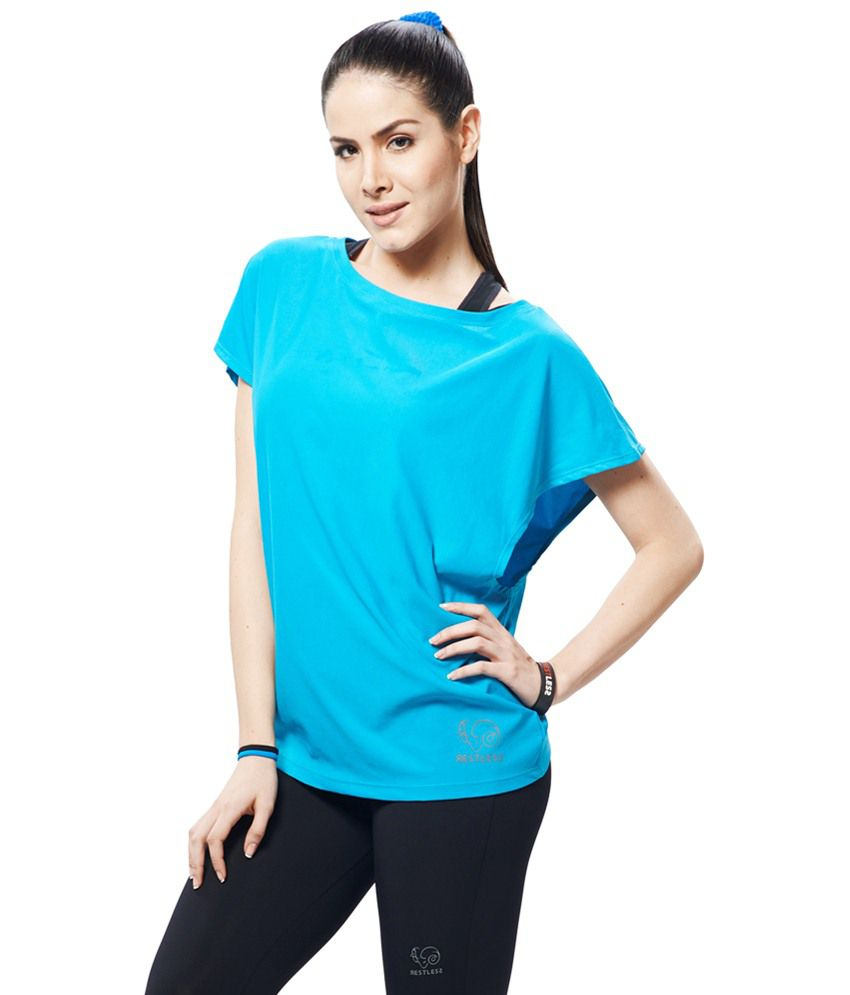 Restless Light Blue Stretchable Sports Top