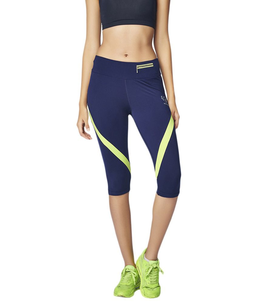 Restless Navy Blue & Green Stretchable Sports Capris